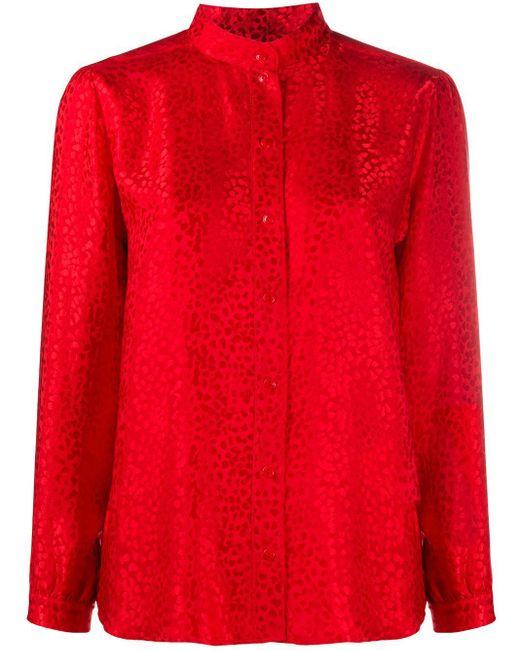 A.P.C. Camisa sin cuello de manga larga de mujer de color rojo 7d9EC