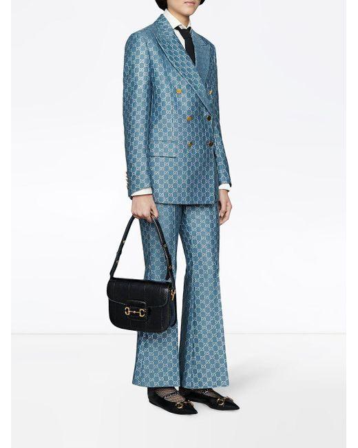 Gucci GG ラメ フレアパンツ Blue