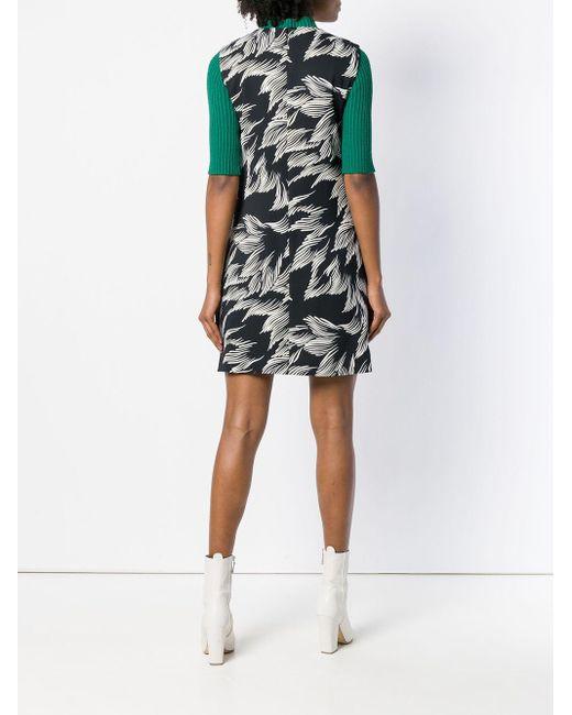 Foliage Print Shift Dress Victoria, Victoria Beckham, цвет: Black