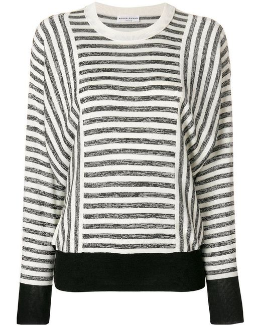 Sonia Rykiel - White Striped Jersey Jumper - Lyst