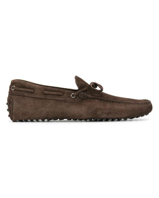 Tod's | Brown Bow Suede Loafers for Men | Lyst