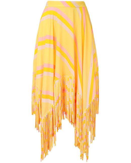 Юбка С Завышенной Талией И Бахромой MSGM, цвет: Yellow