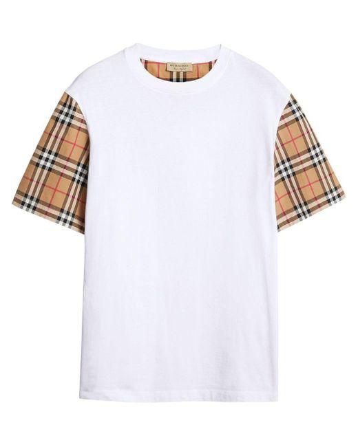 Burberry チェックスリーブ Tシャツ White