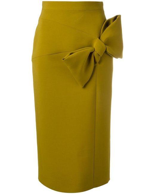 Roksanda | Green Bow Detail Pencil Skirt | Lyst