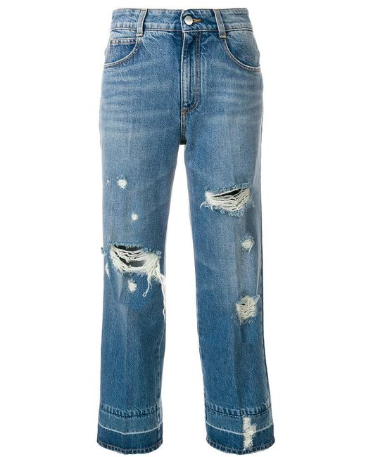 Stella McCartney - Blue Distressed Cropped Jeans - Lyst