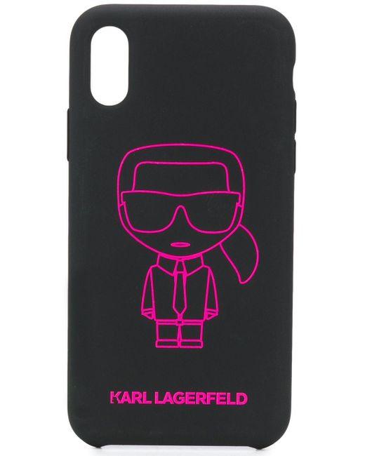 Coque d'iPhone X/XS Ikonik Outline Karl Lagerfeld en coloris Black