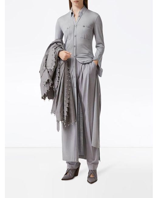 Burberry ジャージー シャツドレス Gray