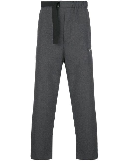 メンズ OAMC ベルテッド クロップドパンツ Gray