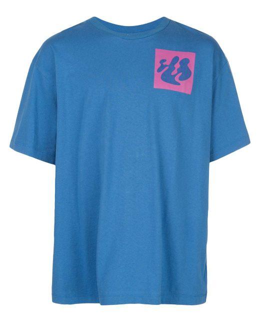 メンズ Off-White c/o Virgil Abloh アブストラクトロゴ Tシャツ Blue