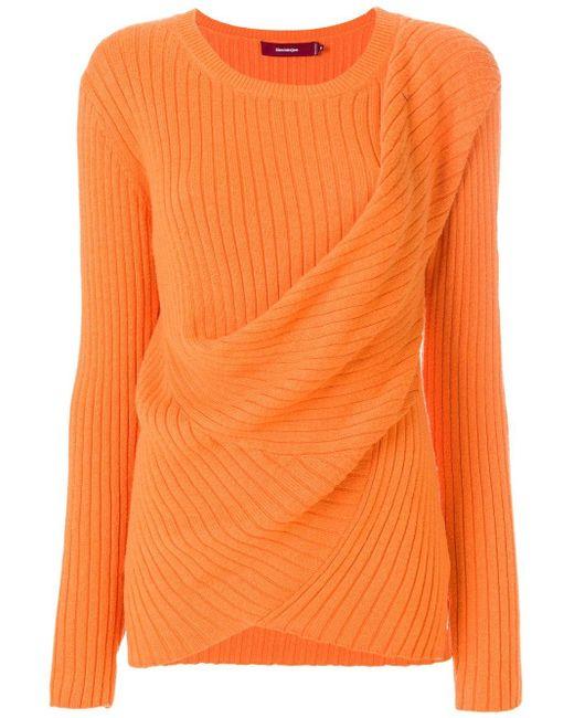 Sies Marjan Yellow Draped Rib Knit Sweater