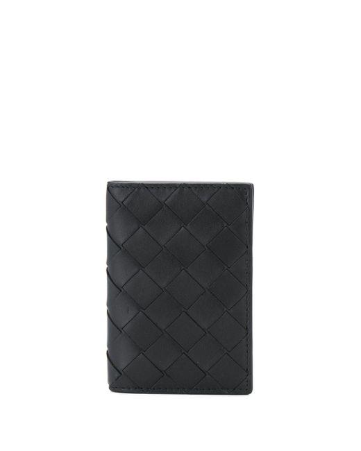 メンズ Bottega Veneta イントレチャート 二つ折り財布 Black
