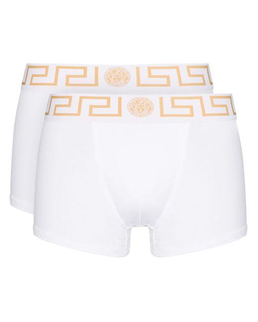 メンズ Versace グレカ ボクサーパンツ White