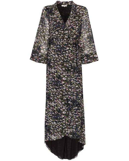 Ganni Black Floral Print Wrap Dress