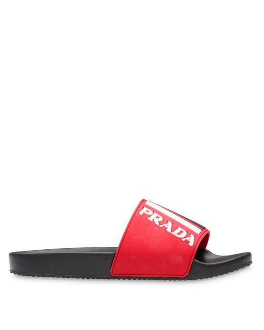 メンズ Prada ロゴ サンダル Red