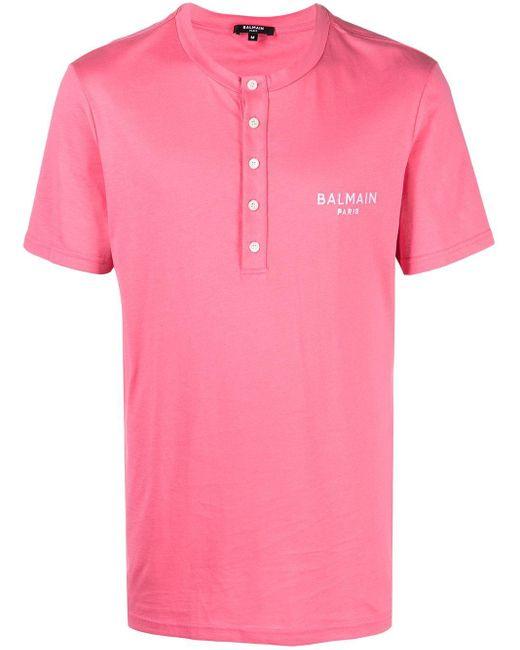 Camiseta con logo bordado Balmain de hombre de color Pink