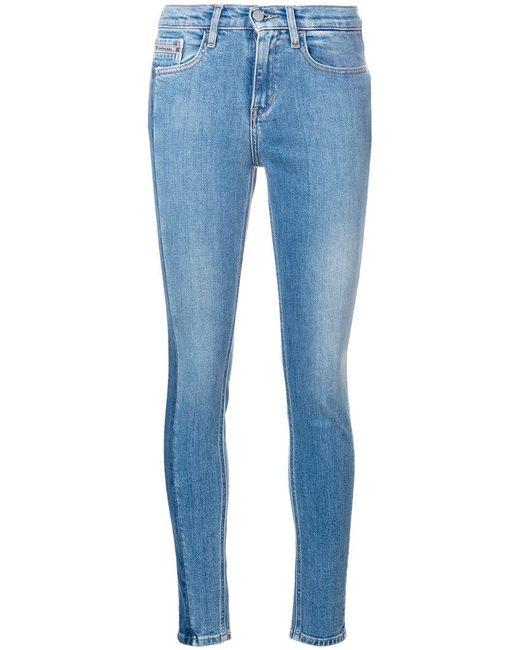 Calvin Klein Jeans - Blue High Rise Vertical Stripe Skinny Jeans - Lyst