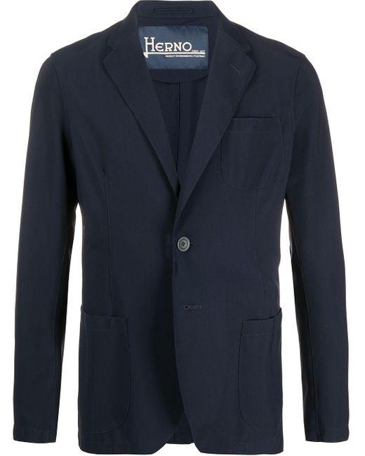 メンズ Herno シングルジャケット Blue