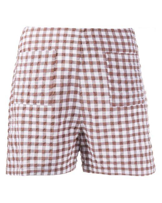 Pantalones cortos a cuadros Ella Soulland de color White
