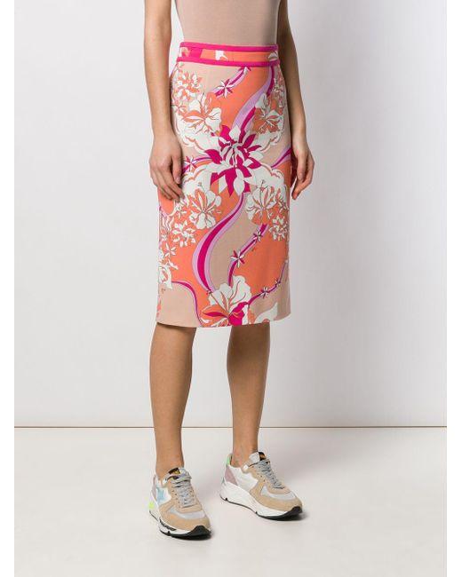 Emilio Pucci フローラル ペンシルスカート Pink