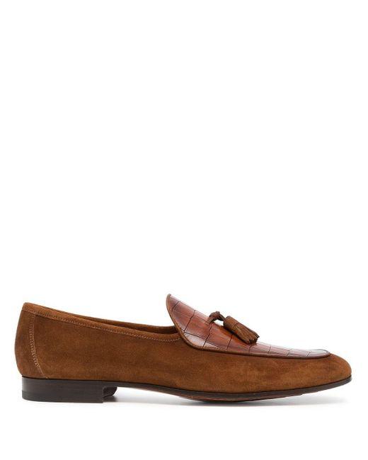 メンズ Magnanni Shoes クロコパターン ローファー Brown