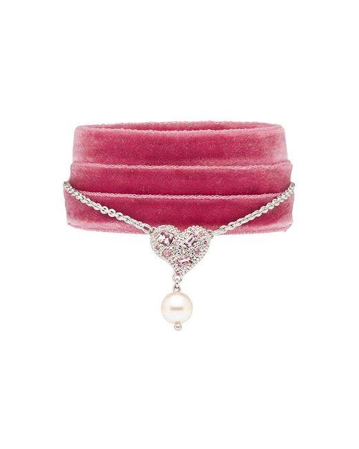 Miu Miu - Pink Heart Charm Ribbon Bracelet - Lyst