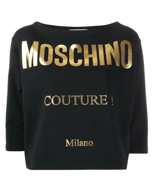 T-shirt crop à logo imprimé Moschino en coloris Black