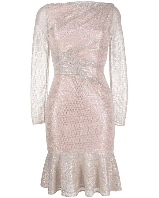 Talbot Runhof メタリック ドレス Pink