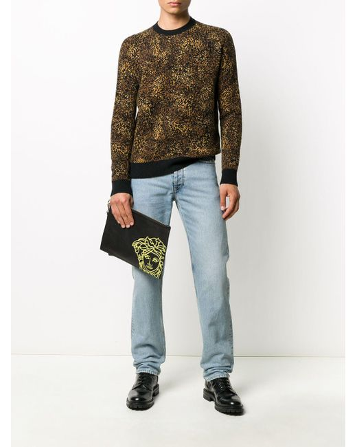 Клатч С Вышивкой Medusa Versace для него, цвет: Black