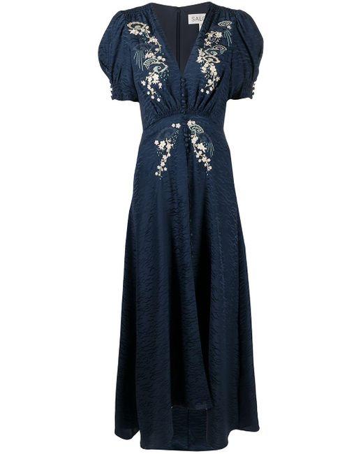 Robe évasée à fleurs brodées Saloni en coloris Blue