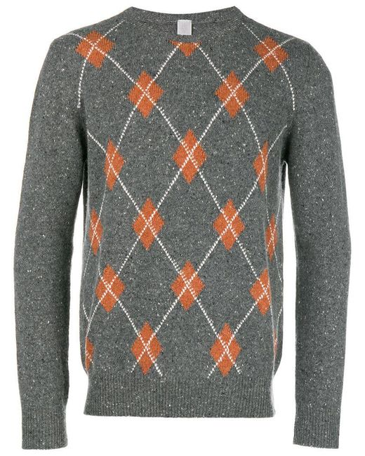 Eleventy - Gray Cashmere Argyle Pattern Sweater for Men - Lyst
