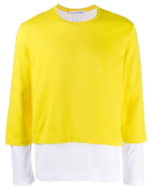 メンズ Comme des Garçons レイヤード Tシャツ Yellow