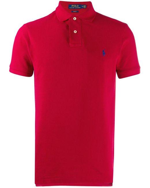 メンズ Polo Ralph Lauren ロゴ ポロシャツ Red