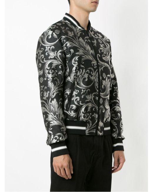 メンズ Dolce & Gabbana バロックプリント ボンバージャケット Black