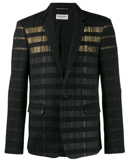 メンズ Saint Laurent メタリックストライプ ジャケット Black