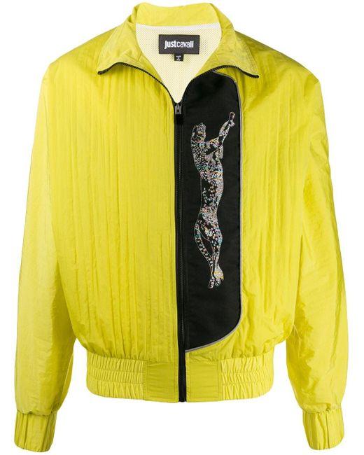 メンズ Just Cavalli レオパード ボンバージャケット Yellow
