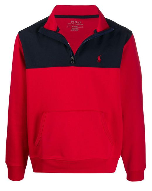 メンズ Polo Ralph Lauren カラーブロック スウェットシャツ Red