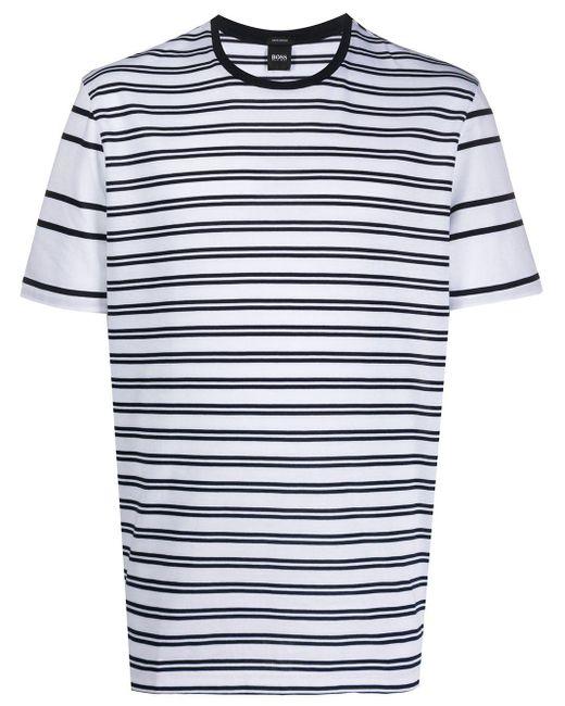 メンズ BOSS by Hugo Boss ストライプ Tシャツ White