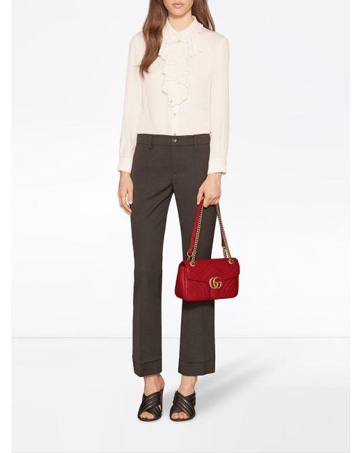301472c02c3e ... Gucci - Red GG Marmont Small Leather Matelassé Shoulder Bag - Lyst ...