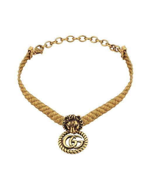 Gucci Metallic Lion Head Choker