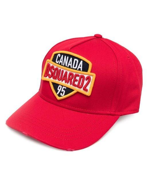 Cappello da baseball con applicazione di DSquared² in Red da Uomo