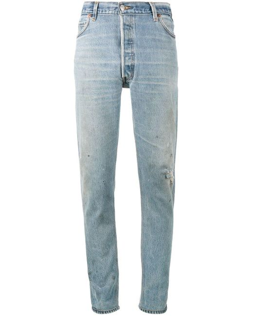 Re/done Blue Levi's Distressed High Waisted Slim Fit Jeans
