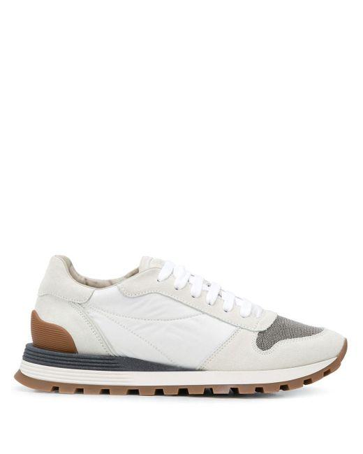 Кроссовки В Стиле Колор-блок Brunello Cucinelli, цвет: White