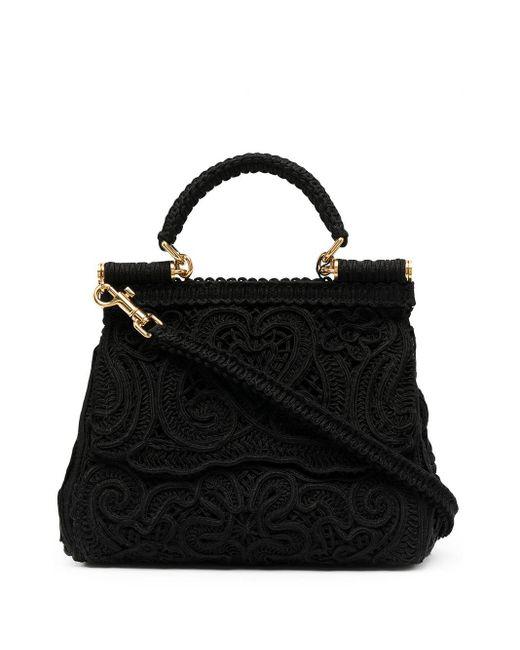 Dolce & Gabbana Devotion レース ハンドバッグ Black