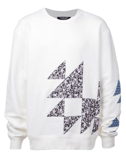 メンズ CALVIN KLEIN 205W39NYC ジオメトリックパターン スウェットシャツ White