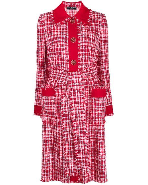 Dolce & Gabbana ベルテッド ツイードコート Red