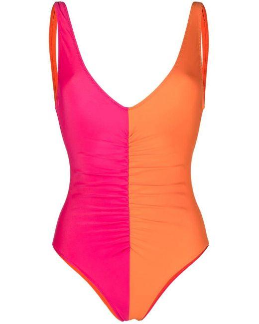 Solid & Striped Lucia カラーブロック ワンピース水着 Orange