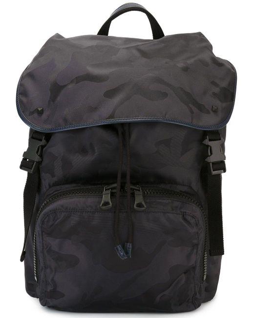 Рюкзак С Камуфляжным Принтом Valentino для него, цвет: Black