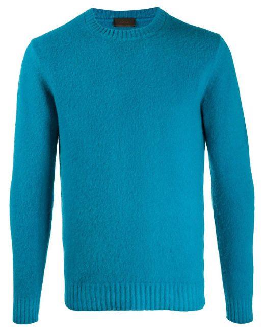 Altea Blue Knitted Wool Jumper for men