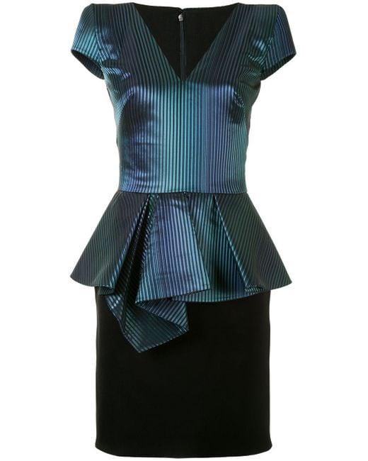 Saiid Kobeisy ストライプ ペプラム ドレス Blue