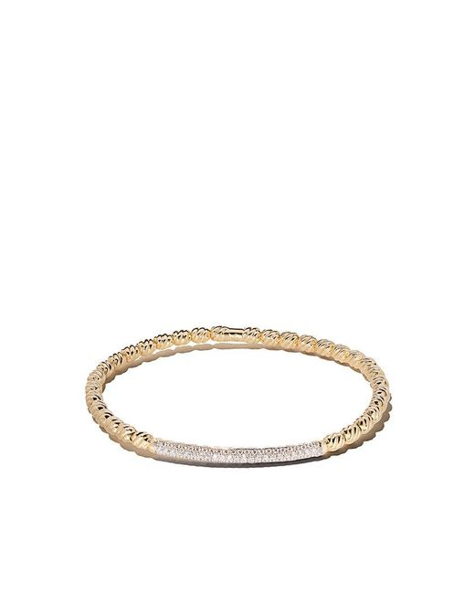 David Yurman - Metallic 18kt Yellow Gold Petite Pavé Cable Flex Diamond Bangle - Lyst